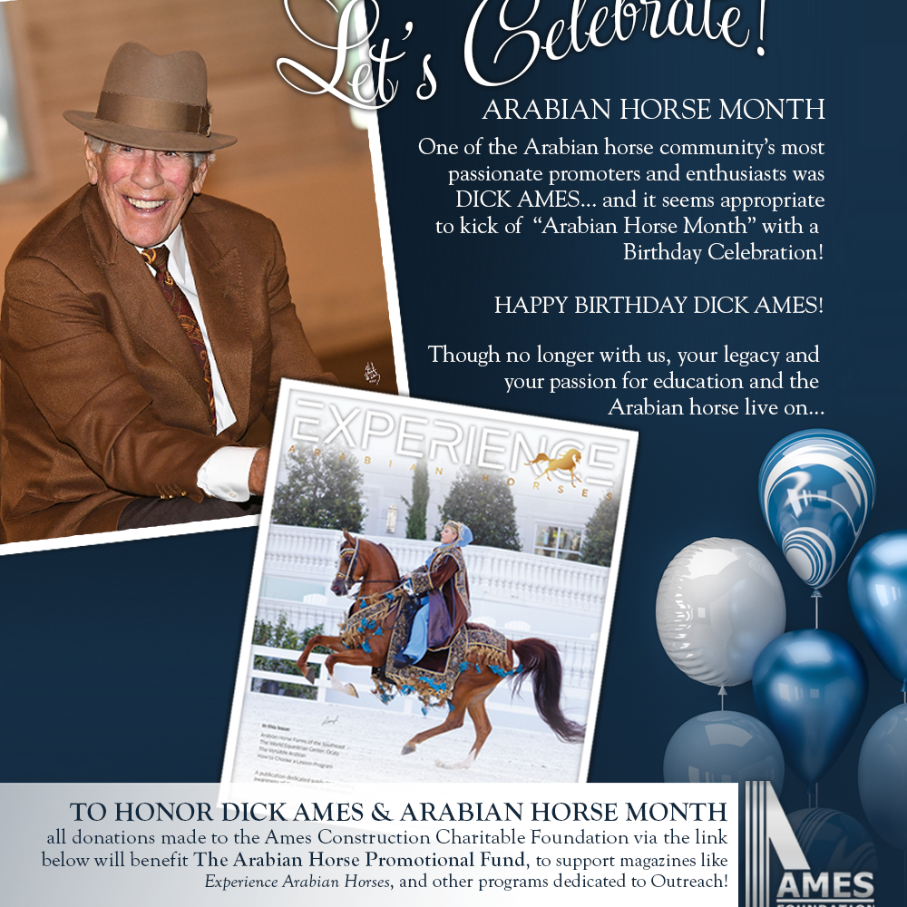 Celebrate Arabian Horse Month & Dick Ames by Donating Today!